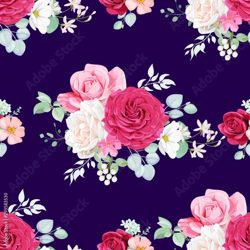 Tapety SHABBY-CHIC  shabby-chic-bezszwowy-wzor-z-ladnymi-marsalami-i-rumianymi-rozami-ozdobiony-galazkami-eukaliptusa-rozowymi-kwiatami-brier-i-stokrotkami