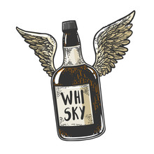 Flying Whiskey Alcohol Bottle With Wings Sketch Engraving Vector Illustration. Scratch Board Style Imitation. Black And White Hand Drawn Image.