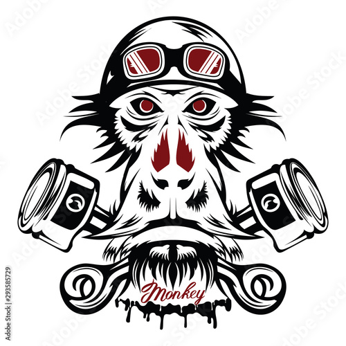 Vector image of an monkey executed in the form of a tattoo Wallpaper Mural