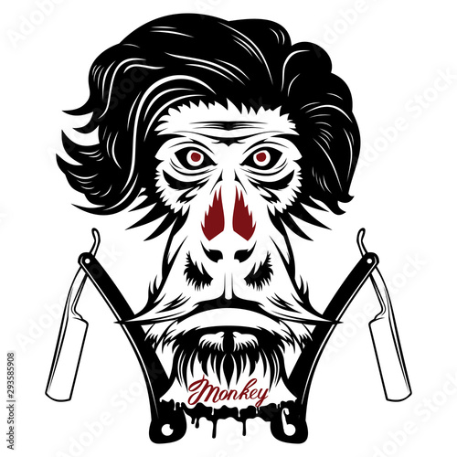Photo  Vector image of an monkey executed in the form of a tattoo
