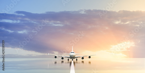 Commercial airplane waiting in the airport at sunset or sunrise. 3D illustration