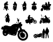 Set Of Motor Bike And People W...