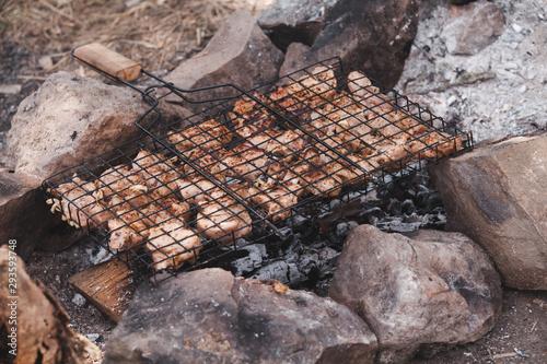 Shashlik cooking on a bonfire