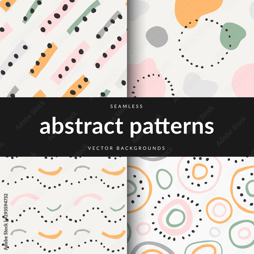 Collection of contemporary vector modern abstract art background. Colorful line strokes and dots abstraction, trendy flat hand drawn illustration, seamless repeat pattern decoration.