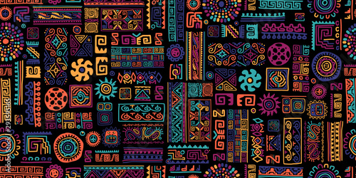 Obraz Ethnic handmade ornament, seamless pattern - fototapety do salonu