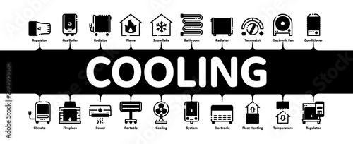 Fotomural Heating And Cooling Minimal Infographic Web Banner Vector