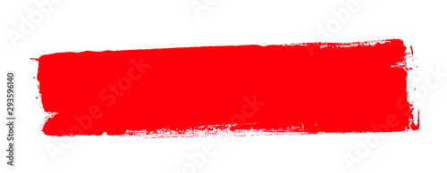 Fototapeta Handgemalter Farbstreifen mit Textfreiraum aus roter Farbe obraz