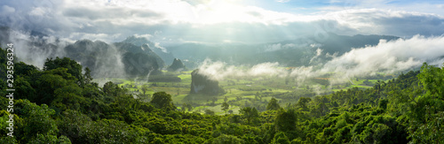 Panoramic foggy landscape with mountains in morning