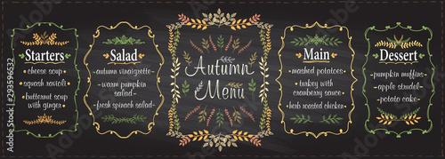 Autumn season chalk menu set - starters, salad, main and dessert