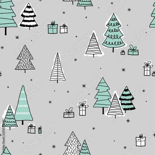 piekne-i-slodkie-choinki-wzor-recznie-rysowane-i-zdobione-drzewa-idealne-na-tekstylia-banery-tapety-karty-wektor-projektowania