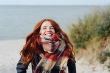 Joyful Happy Young Redhead Woman