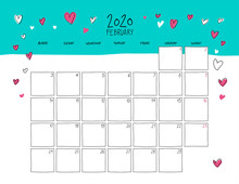 February 2020 Doodle Wall Calendar.
