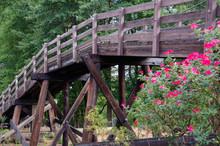 Wooden Bridge Over Railroad Tracks.