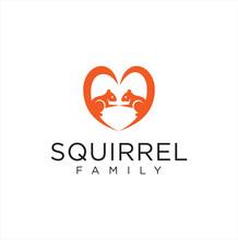 Squirrel Love Logo Icon Mascot...