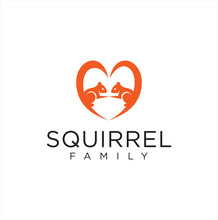 Squirrel Love Logo Couple Desi...