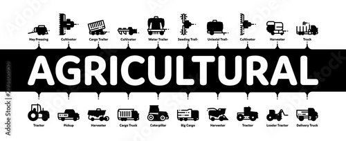Photo Agricultural Vehicles Minimal Infographic Web Banner Vector