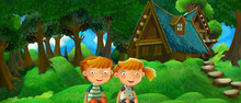 Cartoon Summer Scene With Farm House In The Forest With Happy Girl And Boy - Illustration For Children