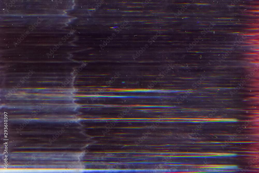 Fototapeta Distorted screen. Electronic glitch. Dark striped pattern noise.