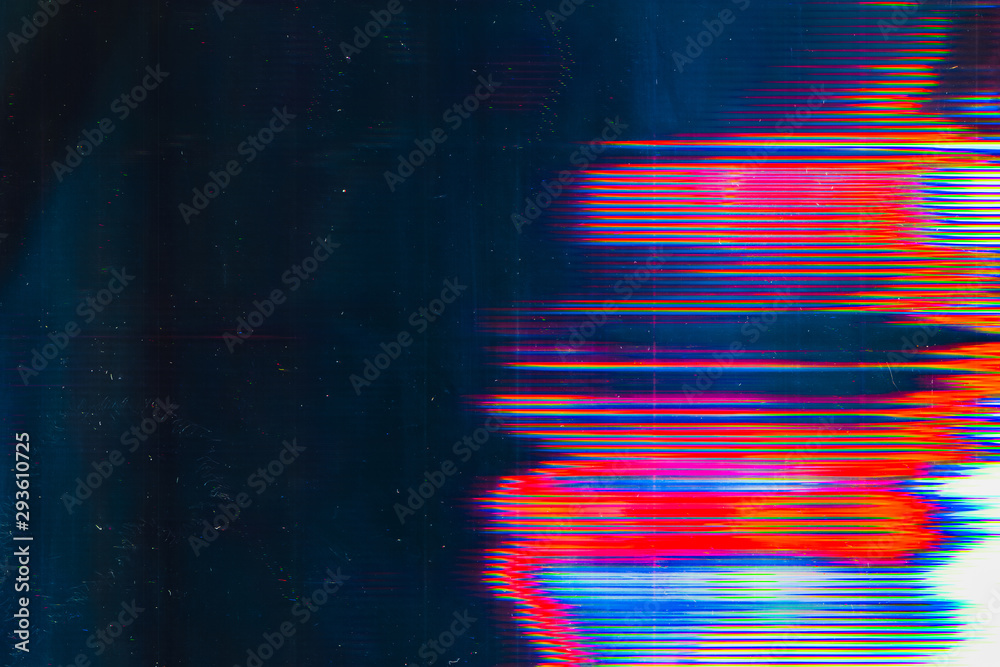 Fototapeta Screen damage. Digital glitch error. Colorful glow on teal blue background.