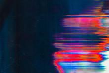 Screen Damage. Digital Glitch Error. Colorful Glow On Teal Blue Background.