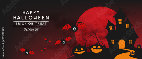 Photo happy halloween day banner vector design 2019