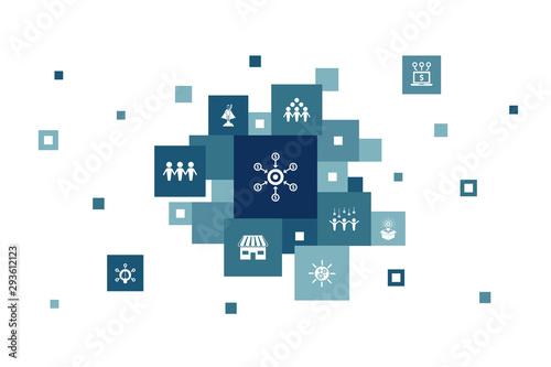 Fototapeta Crowdfunding Infographic 10 steps pixel design.startup, product launch, funding platform, community icons obraz