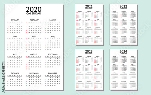 2022 At A Glance Calendar Printable.Calendar For 2020 2021 2022 2023 And 2024 A Set Of 5 Calendars With A Simple Look And Layout Week Starts From Sunday Vector Template Isolated Full Printable Clean Minimal Table Stock Vector Adobe Stock