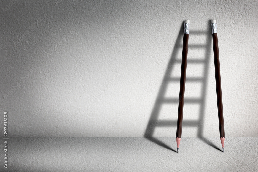 Fototapety, obrazy: Stairs with pencil for effort and challenge in business to be achievement and successful concept