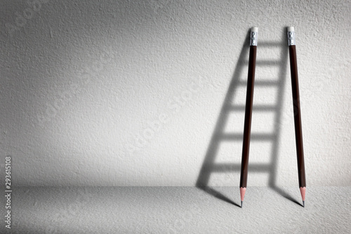 Fotografía  Stairs with pencil for effort and challenge in business to be achievement and su