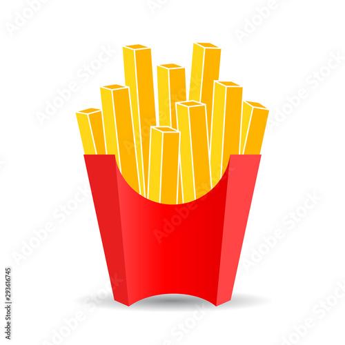 Canvas Print French fries vector cartoon