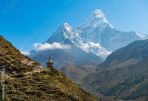 The Buddhist stupa at the edge of the mountain with beautiful with of Mt Wallpaper Mural