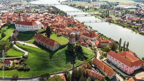 Foto auf Gartenposter Altes Gebaude Ptuj Grad in Slovenia, Historic Old Town and Castle. Aerial Drone View