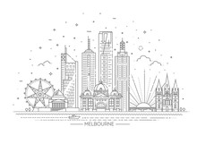 Melbourne Australia City Skyline On White Background. Vector Illustration