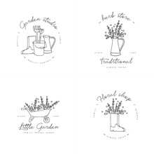 Vector Set Of Logos, Badges And Icons For Farmers And Garden Tools Flowers Shop. Collection Symbol Of Gardening.