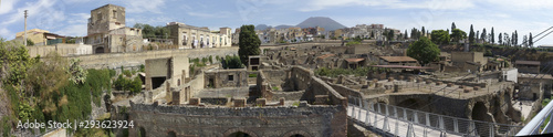 Panoramic view of Herculaneum ancient roman ruins Wallpaper Mural