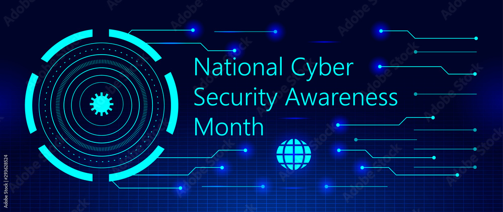Fototapeta National Cyber Security Awareness Month is observed in October in USA.