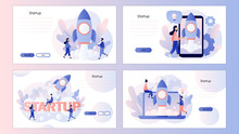 Business Start Up Concept. Screen Template For Mobile Smart Phone, Landing Page, Template, Ui, Web, Mobile App, Poster, Banner, Flyer. Modern Flat Cartoon Style. Vector Illustration