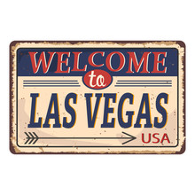 Greetings From Las Vegas Vintage Tin Sign With Retro Souvenirs Or Postcard Templates On Rust Background. Vintage Old Paper