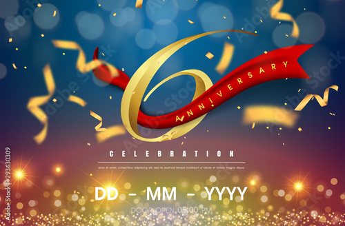 Photographie  6 years anniversary logo template on gold and blue background