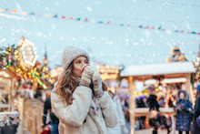 Girl Walking On Christmas Market On Red Square In Moscow