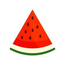 Seed Watermelon Slice Icon. Fl...