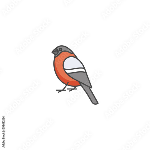 Valokuva Vector linear icon design bullfinch on white background