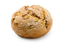 Round Rustic Whole Wheat Bread Roll Isolated On White.