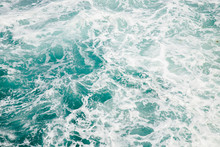 Natural Background Storm Sea Blue Ocean With Foam And Waves