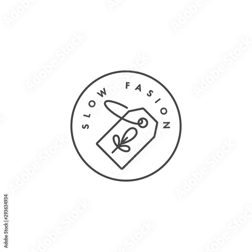 Photo Vector logo, badge or icon for eco-friendly manufacturing - slow fasion