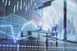 Business theme graph hologram with minimalistic cabinet interior background. Double exposure. Stock market concept.