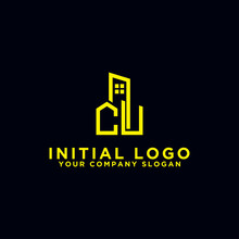 Initial Concept Of The CU Logo With A Building Template Vector For Construction.