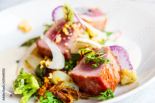 Fototapeta Fine dining cuisine - french dish on the table