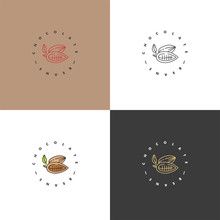 Vector Set Illustrations Of Cocoa Beans Logos. Linear Style Icons. Chocolate Cocoa Beans.