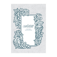 Grape And Vine Frame. Grape And Vine Bunches Engraving Style Hand Drawn Vector Illustration. Part Of Set.